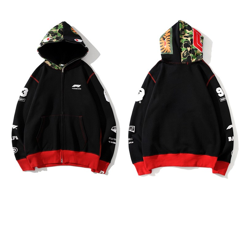F1 x Bape Union Hoodie Black Red M~2XL B15XC6625