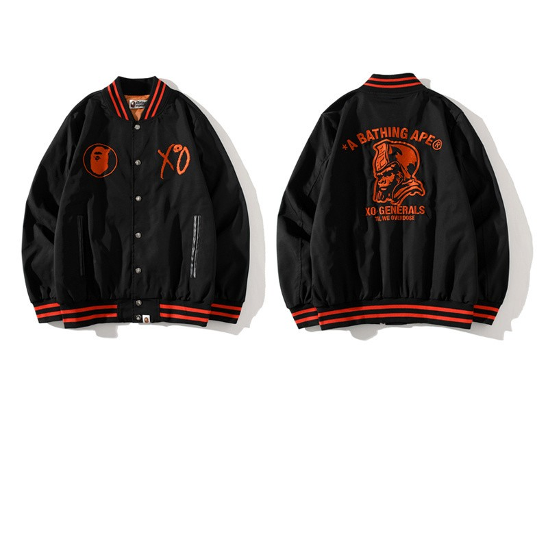 XO x Bape Union Jacket Black Red Edge M~3XL B15XC7303